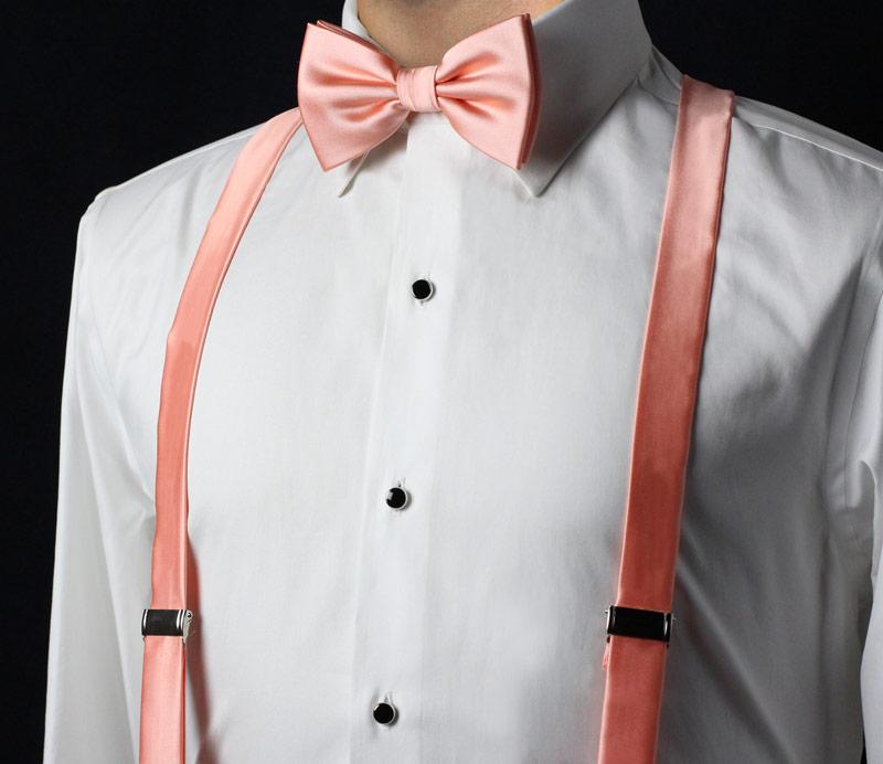 Fliege und Hosenträger farblich passend in rosa